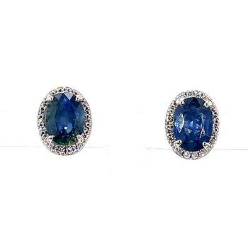 2.0ct Blue Sapphire & Diamond Stud Earrings