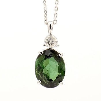 14KW Oval Green Tourmaline Necklace