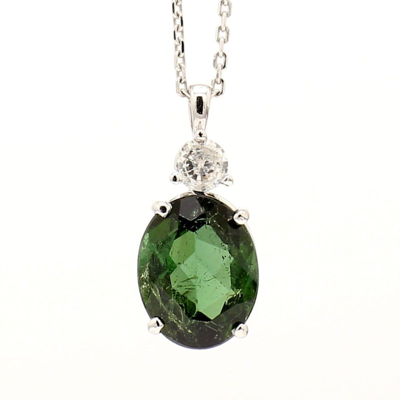 14KW Oval Green Tourmaline Necklace
