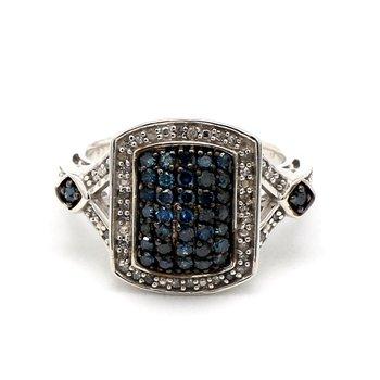 2/5ct Blue & White Diamond Halo Pavé Ring
