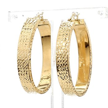 14KT Yellow Gold Bright Cut Oval Hoop Earrings