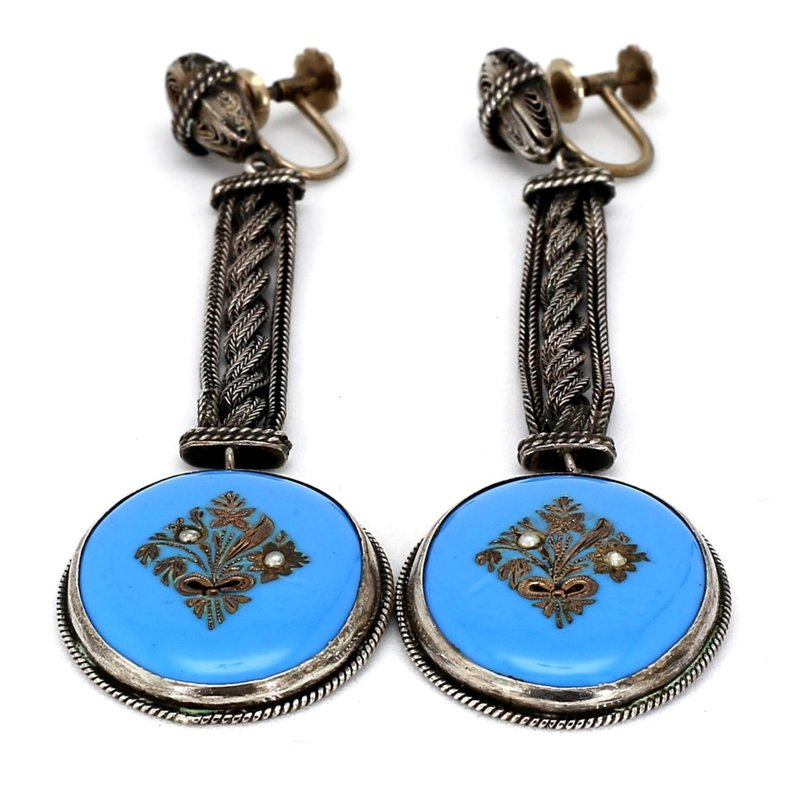 Victorian Silver, Enamel and Pearl Floral Butterfly Design Earrings