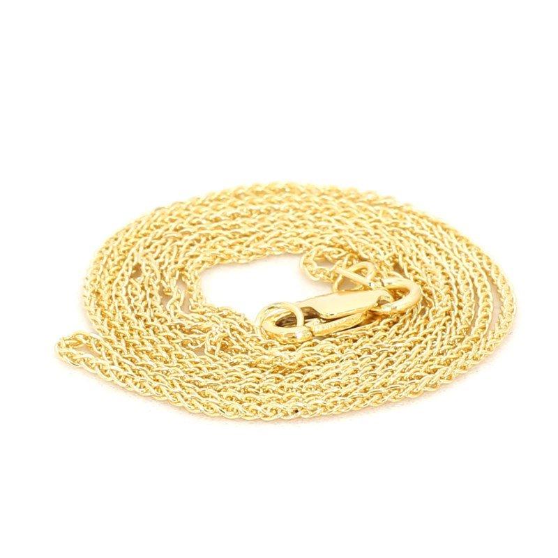 """20"""" 1.05mm 14K Yellow Round Wheat Chain"""