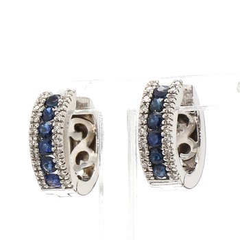 3/4ct Blue Sapphire & Diamond Hoop Earrings