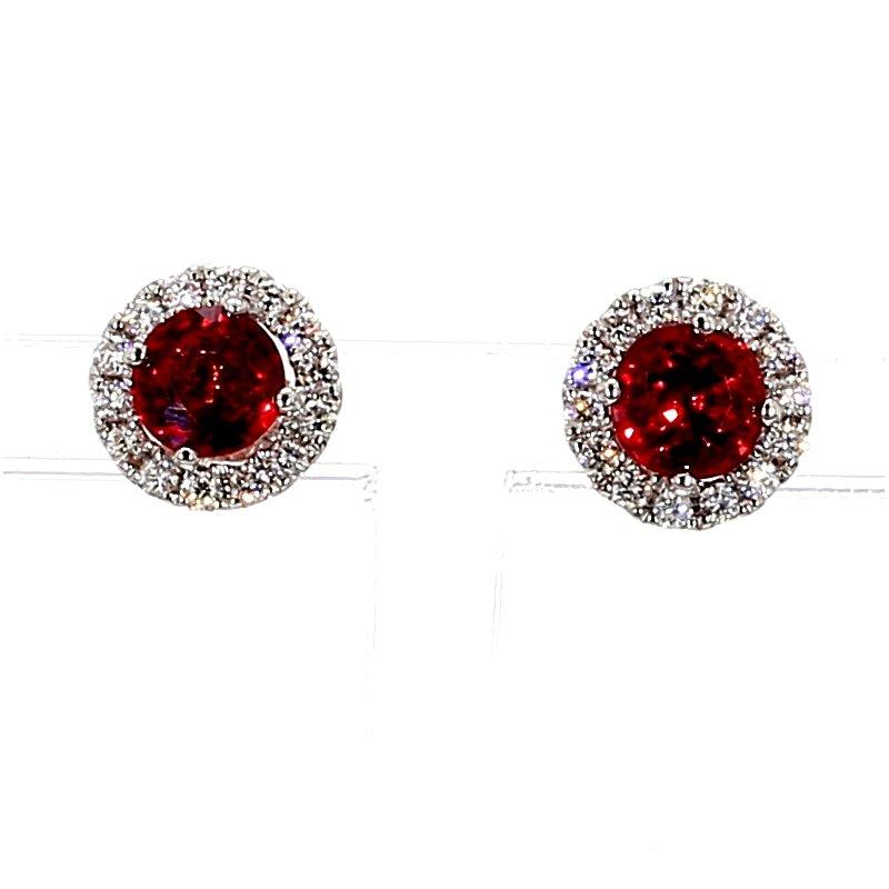 2 1/3ct Orange Sapphire & Diamond Halo Stud Earrings