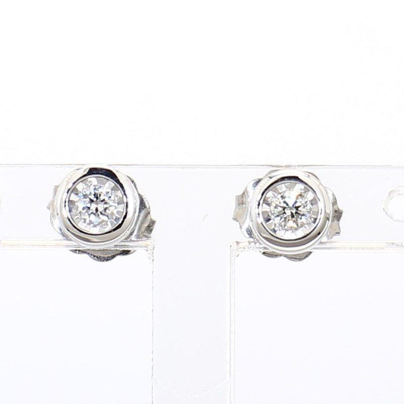 1/10ct Bezel Set Stud Earrings