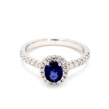 1 1/5ct Blue Sapphire & Diamond Halo Ring