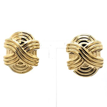 14KT Yellow Gold Estate Textured Woven Crossover Earrings