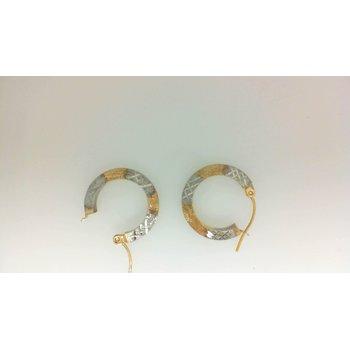 14KT TwoTone Textured Hoop Earrings