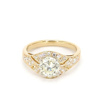 1.63 Carat Diamond Vintage Art Deco Engagement Ring