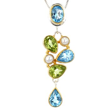 Sterling Silver & 22 Karat Yellow Gold Vermeil Multi Gemstone Pendant