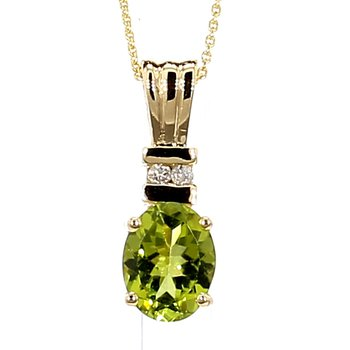 1 1/3ct Peridot & Diamond Pendant