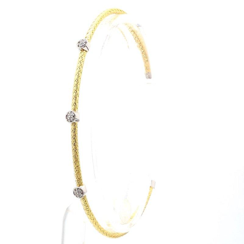 "Sterling Silver & 18k Yellow Gold Mesh Jeweled Station Bracelet 6.75"" 2.2mm"