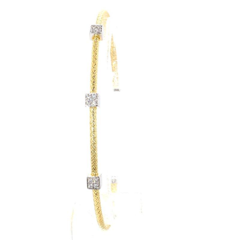 "Mesh Station Bangle Bracelet 6.75"" x  2mm"