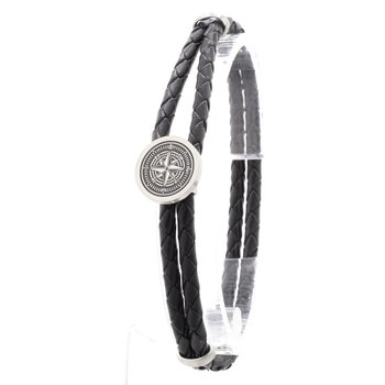 Stainless Steel Compass Black Leather Bracelet
