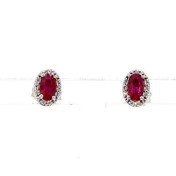 1/2ct Ruby & Diamond Halo Stud Earrings
