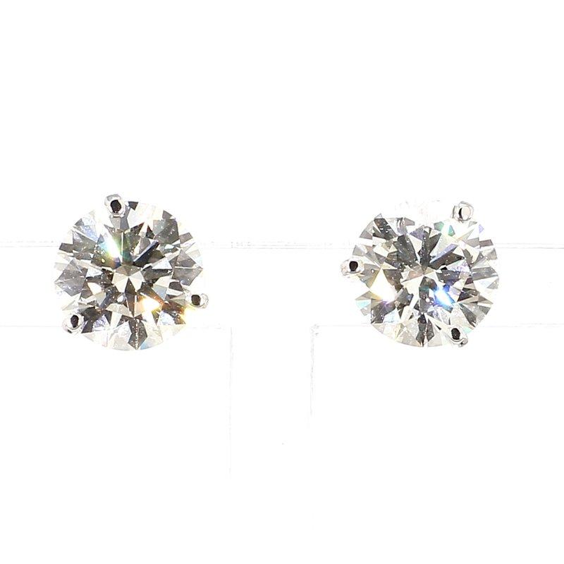 4 Carat Round Brilliant Diamond Stud Earrings