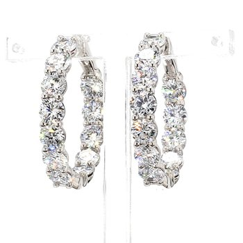 10 Ct Diamond Hoop Earrings 30x5mm 14 Karat White Gold