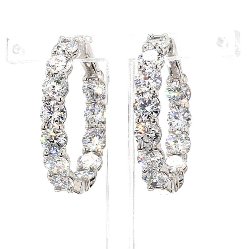 10 Ct Diamond Hoop Earrings 30x5mm 14 Karat White Gold