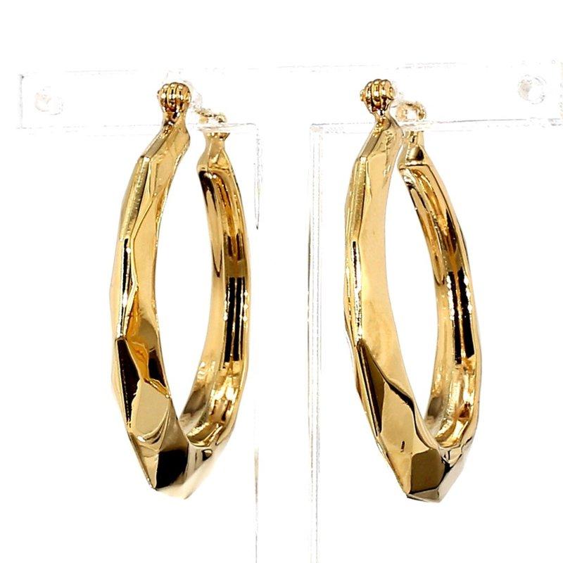 14KT Yellow Gold Sculptured Hoop Earrings