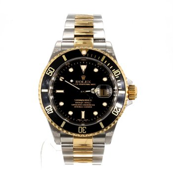 Pre-Owned Rolex Large Size 18KT & Stainless Steel Oyster Perpetual  Black Face Watch