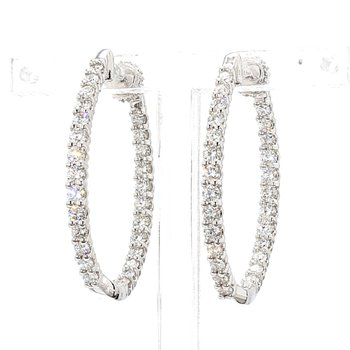 2ct Oval Inside Out Diamond Hoop Earrings