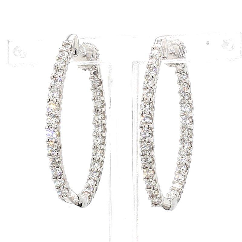 2ct Oval Inside Out Diamond Hoop Earrings
