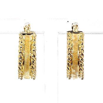 14KT Gold Two Tone Hoop Earrings