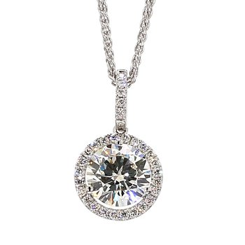 1.57 Carat Round Brilliant Center Diamond With A .17 Carat Diamond Halo Crafted In 14 Karat White Gold On A 18 inch 14 Karat White Gold Wheat Chain