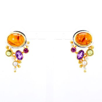 Sterling Silver Multiple Stone Earring