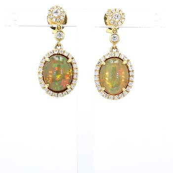3.68ct Opal And Diamond Earrings