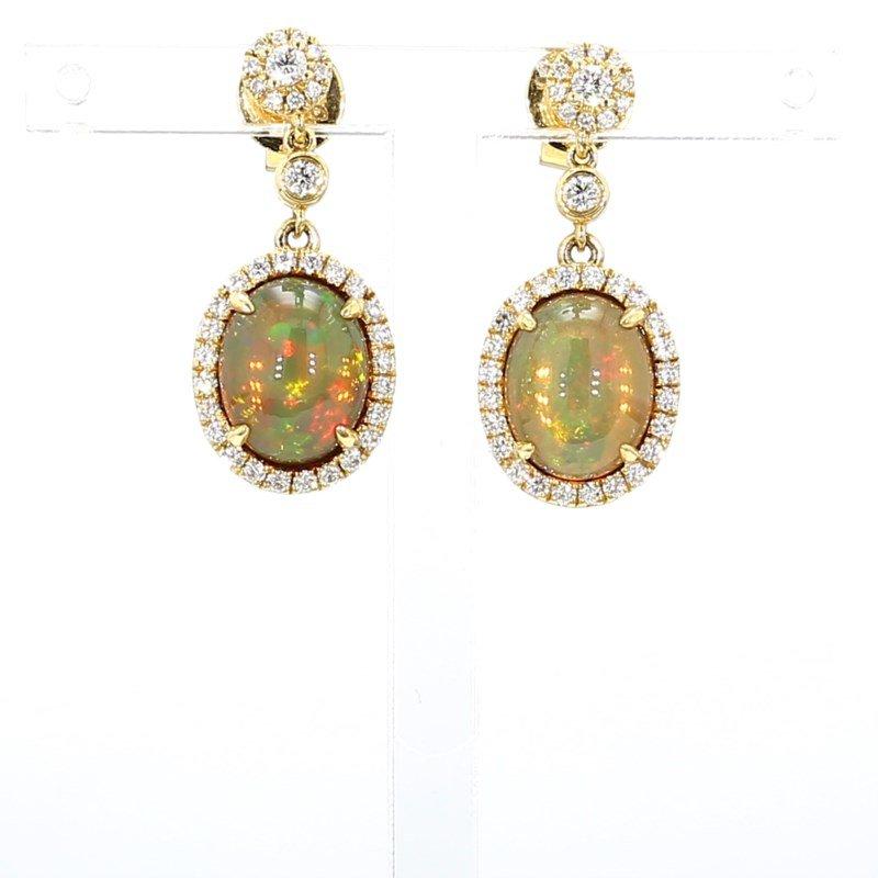 3.68ct Opal And Diamond Earrings