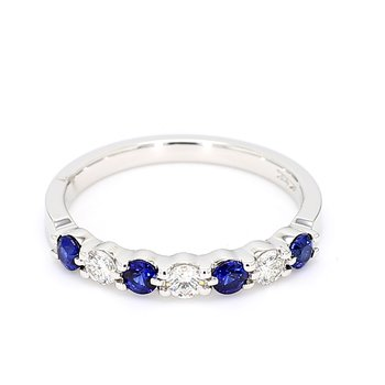 9/10ct Blue Sapphire & Diamond Shared Prong Ring