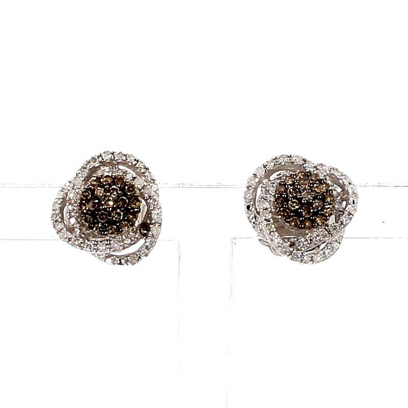 2/5ct Brown & White Diamond Stud Earrings