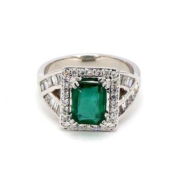 2  1/2ct Emerald & Diamond Halo Ring
