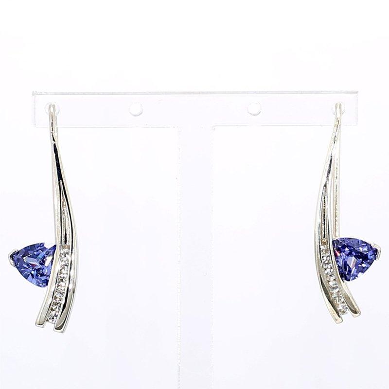 Sterling Silver Tanzanite & Sapphire Drop Earring