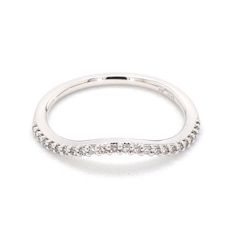 14ct Curved 24 Stone Diamond Ring