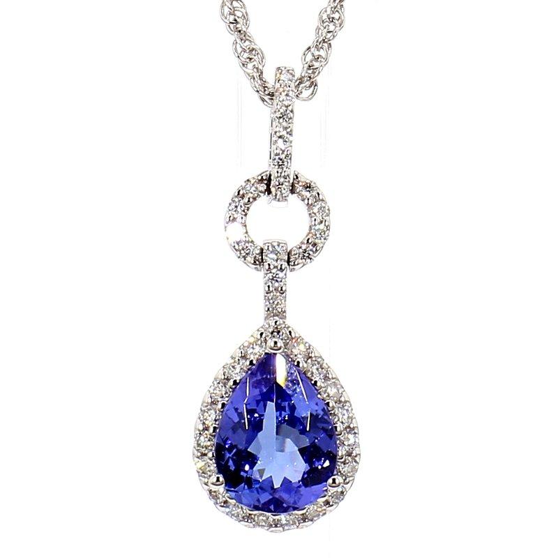 "1 1/5ct Tanzanite & Diamond Pendant 18"""