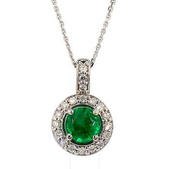 "4/5ct Emerald & Diamond Halo Pendant 18"""