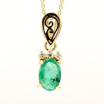 18K Oval Emerald and Diamond Pendant