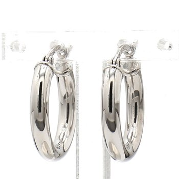 Sterling 3x18mm Round Hoop Earrings