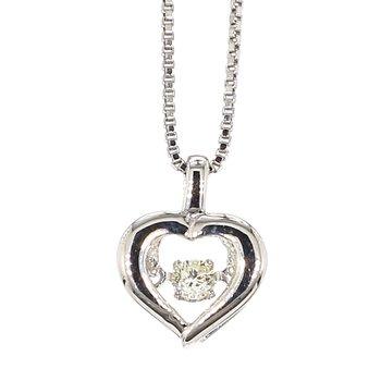 ".07ct  Diamond Heart Sterling Silver Pendant 18"""