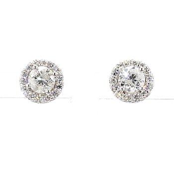 1 1/4ct. Diamond Halo Earrings
