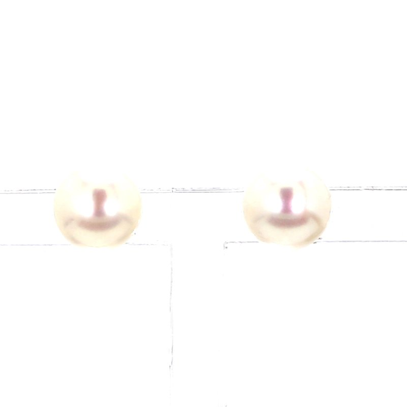 14KW 7-7.5MM White Pearl Stud Earrings