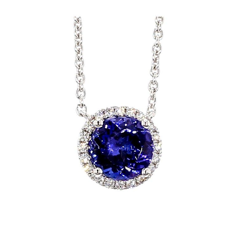 "2ct Tanzanite & Diamond Halo Necklace 17"""