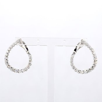 1ct Twisted Diamond Fashion Hoop Earrings