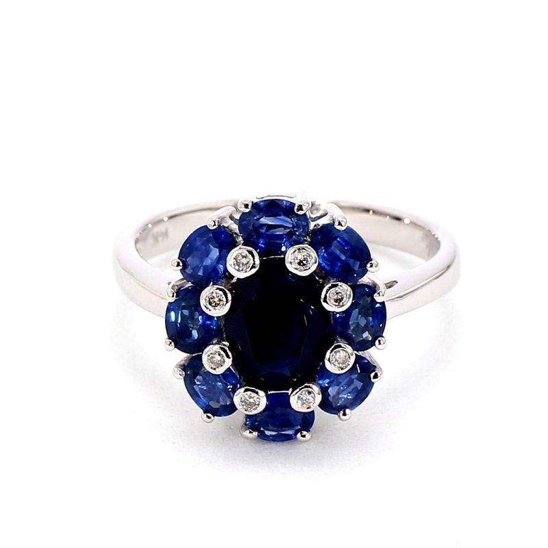 3.0ct Blue Sapphire & Diamond Halo Ring