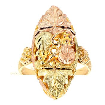 10 Karat Gold Tri Colored Bacchanalia Ring