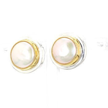 .925 Sterling Silver and 22K Gold Vermeil Earring with White Pearl 14.2mm
