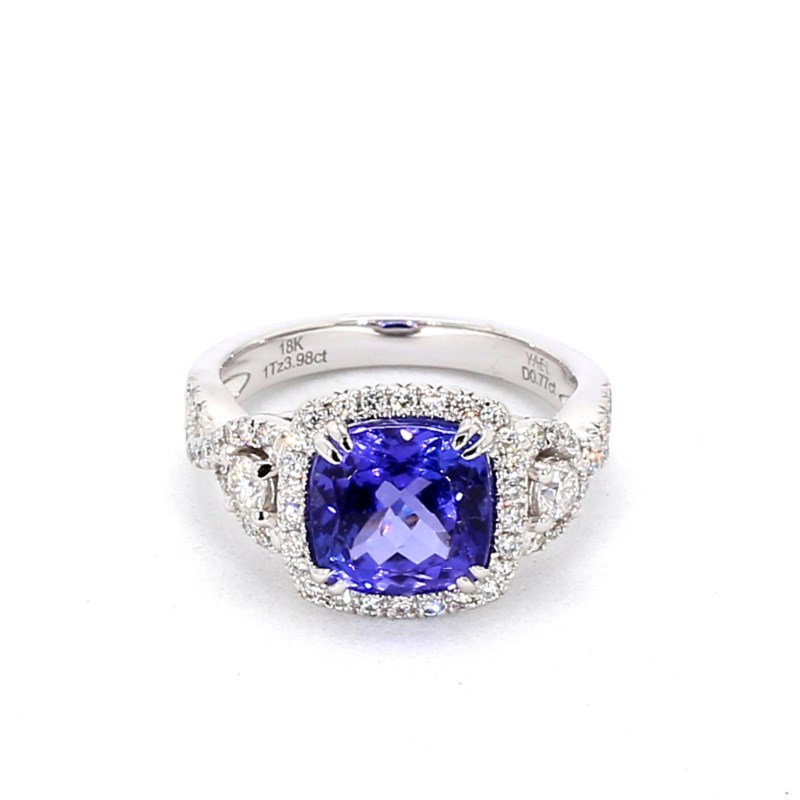 4.77 Carat Tanzanite And Diamond Halo Ring